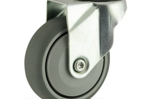 Zinc plated swivel caster 125mm for light trolleys,wheel made of grey rubber,single precision ball bearing.Hollow rivet