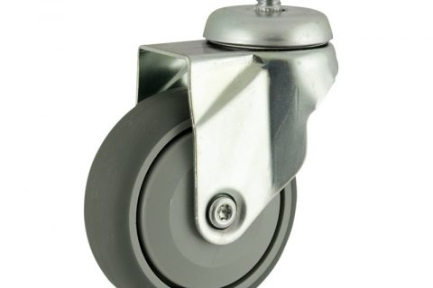 Zinc plated swivel caster 100mm for light trolleys,wheel made of grey rubber,single precision ball bearing.Threaded stem fitting