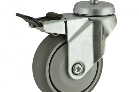 Zinc plated total lock caster 125mm for light trolleys,wheel made of grey rubber,single precision ball bearing.Threaded stem fitting