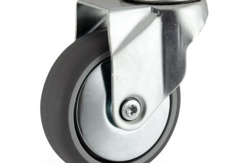 Zinc plated swivel caster 125mm for light trolleys,wheel made of grey rubber,double ball bearings.Hollow rivet
