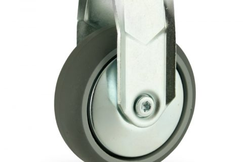 Zinc plated fixed caster 125mm for light trolleys,wheel made of grey rubber,plain bearing.Hollow rivet