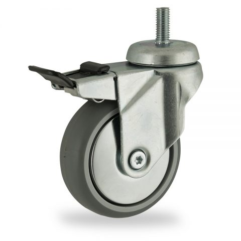 Zinc plated total lock caster 150mm for light trolleys,wheel made of grey rubber,double ball bearings.Threaded stem fitting