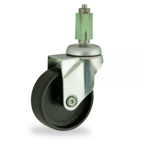 Zinc plated swivel caster 150mm for light trolleys,wheel made of polypropylene,plain bearing.Fitting with square expander socket 24/27