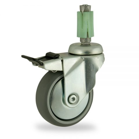 Zinc plated total lock caster 100mm for light trolleys,wheel made of grey rubber,plain bearing.Fitting with square expander socket 27/31