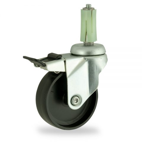 Zinc plated total lock caster 75mm for light trolleys,wheel made of polypropylene,plain bearing.Fitting with round expander socket 19/23