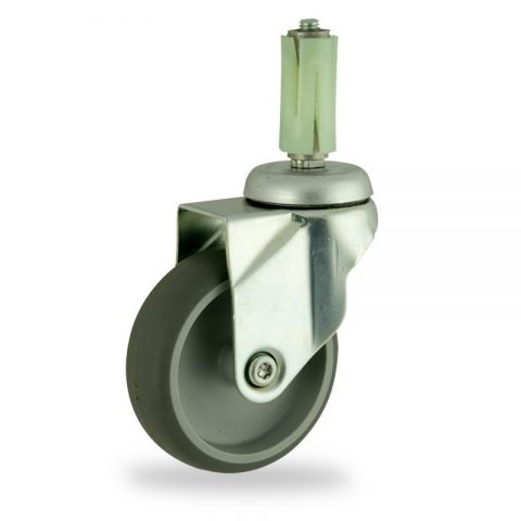 Zinc plated swivel caster 125mm for light trolleys,wheel made of grey rubber,double ball bearings.Fitting with round expander socket 26/30