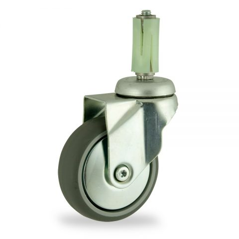 Zinc plated swivel caster 125mm for light trolleys,wheel made of grey rubber,plain bearing.Fitting with round expander socket 19/23