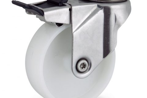 Stainless total lock caster 150mm for light trolleys,wheel made of polyamide,plain bearing.Hollow rivet