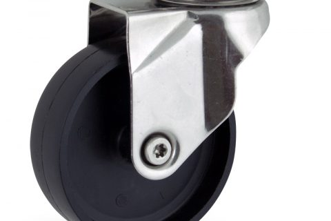 Stainless swivel caster 150mm for light trolleys,wheel made of polypropylene,plain bearing.Top plate fitting