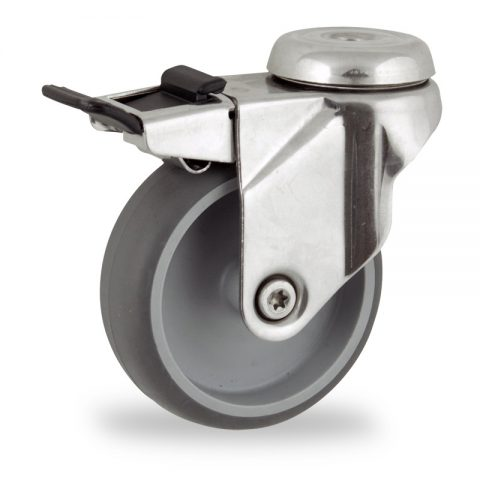 Stainless total lock caster 100mm for light trolleys,wheel made of grey rubber,plain bearing.Hollow rivet