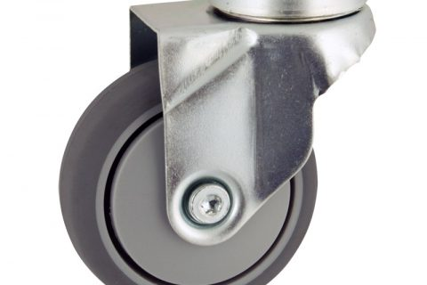 Zinc plated swivel caster 75mm for light trolleys,wheel made of grey rubber,plain bearing.Hollow rivet