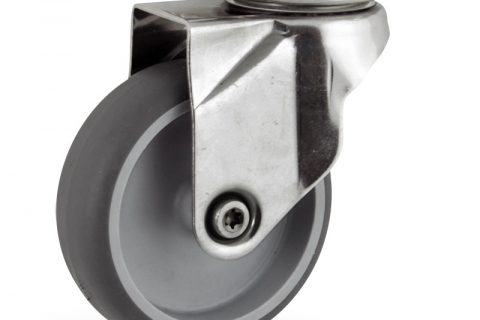 Stainless swivel caster 125mm for light trolleys,wheel made of grey rubber,plain bearing.Top plate fitting