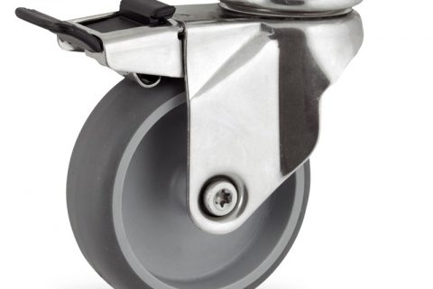 Stainless total lock caster 150mm for light trolleys,wheel made of grey rubber,plain bearing.Top plate fitting