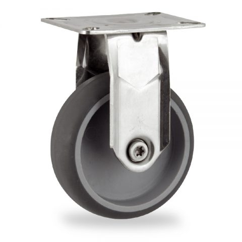 Stainless fixed caster 100mm for light trolleys,wheel made of grey rubber,plain bearing.Top plate fitting