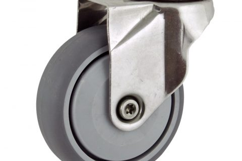 Stainless swivel caster 125mm for light trolleys,wheel made of grey rubber,single precision ball bearing.Hollow rivet