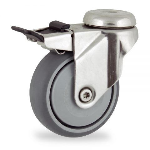 Stainless total lock caster 125mm for light trolleys,wheel made of grey rubber,single precision ball bearing.Hollow rivet