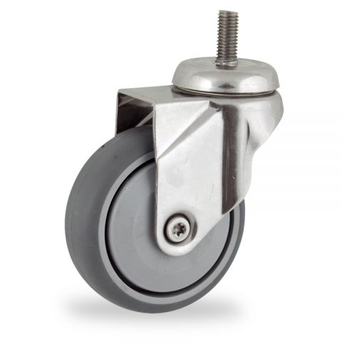 Stainless swivel caster 100mm for light trolleys,wheel made of grey rubber,single precision ball bearing.Threaded stem fitting