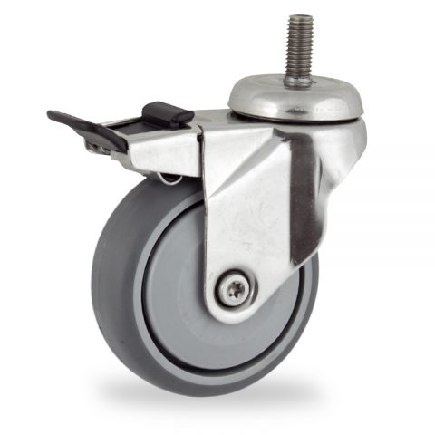 Stainless total lock caster 100mm for light trolleys,wheel made of grey rubber,single precision ball bearing.Threaded stem fitting