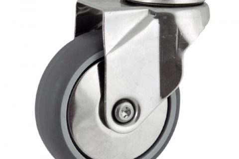 Stainless swivel caster 125mm for light trolleys,wheel made of grey rubber,plain bearing.Hollow rivet