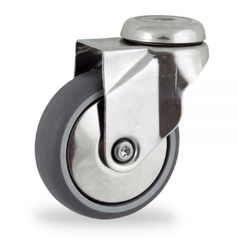 Stainless swivel caster 125mm for light trolleys,wheel made of grey rubber,double ball bearings.Hollow rivet