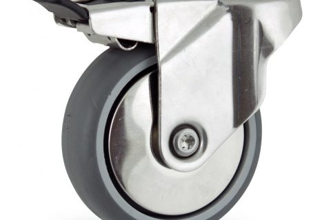 Stainless total lock caster 75mm for light trolleys,wheel made of grey rubber,plain bearing.Hollow rivet