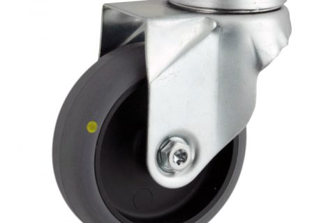 Zinc plated swivel caster 50mm for light trolleys,wheel made of electric conductive grey rubber,double ball bearings.Hollow rivet