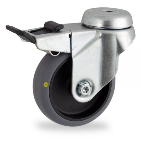 Zinc plated total lock caster 100mm for light trolleys,wheel made of electric conductive grey rubber,plain bearing.Hollow rivet