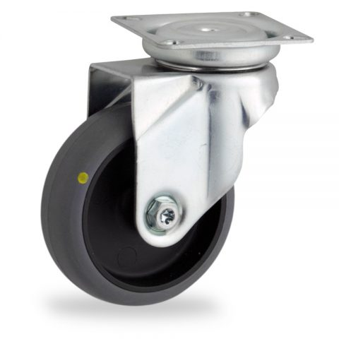 Zinc plated swivel caster 50mm for light trolleys,wheel made of electric conductive grey rubber,plain bearing.Top plate fitting