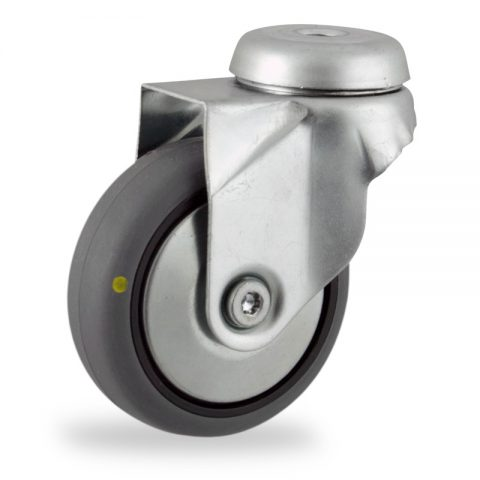 Zinc plated swivel caster 50mm for light trolleys,wheel made of electric conductive grey rubber,plain bearing.Hollow rivet