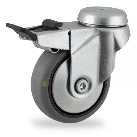 Zinc plated total lock caster 75mm for light trolleys,wheel made of electric conductive grey rubber,double ball bearings.Hollow rivet