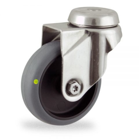 Stainless swivel caster 75mm for light trolleys,wheel made of electric conductive grey rubber,plain bearing.Hollow rivet