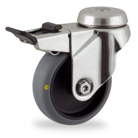 Stainless total lock caster 50mm for light trolleys,wheel made of electric conductive grey rubber,plain bearing.Hollow rivet