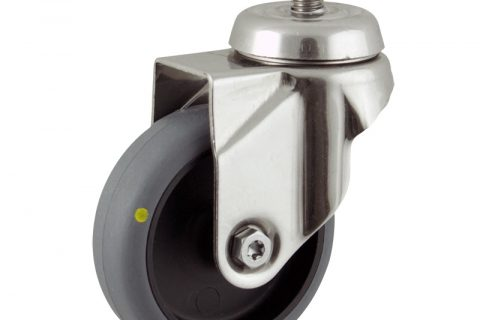 Stainless swivel caster 100mm for light trolleys,wheel made of electric conductive grey rubber,double ball bearings.Threaded stem fitting