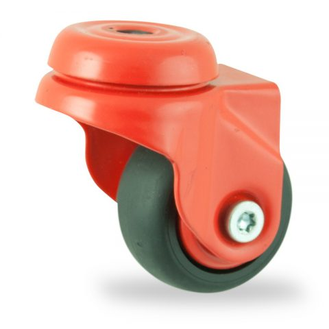 Colouredswivel caster 50mm for light trolleys,wheel made of Black rubber,plain bearing.Hollow rivet