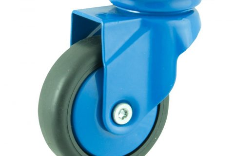 Coloured swivel caster 75mm for light trolleys,wheel made of Black rubber,plain bearing.Top plate fitting