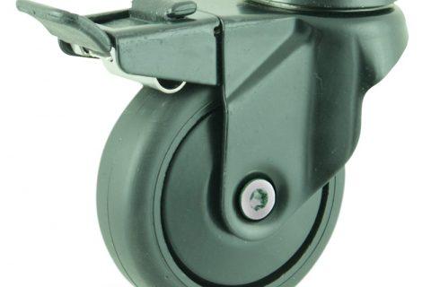Coloured total lock caster 75mm for light trolleys,wheel made of Black rubber,plain bearing.Hollow rivet