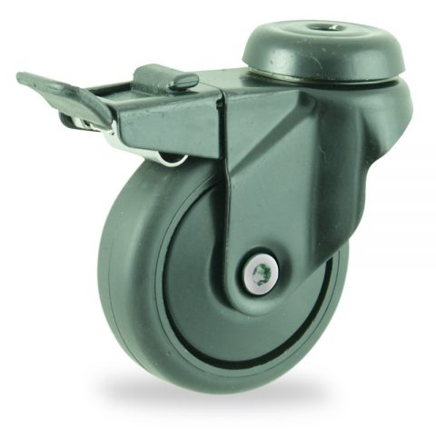 Coloured total lock caster 75mm for light trolleys,wheel made of Black rubber,plain bearing.Hollow rivet