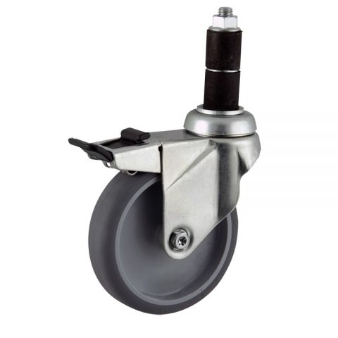Zinc plated total lock caster 100mm for light trolleys,wheel made of grey rubber,plain bearing.Fitting with round expander socket