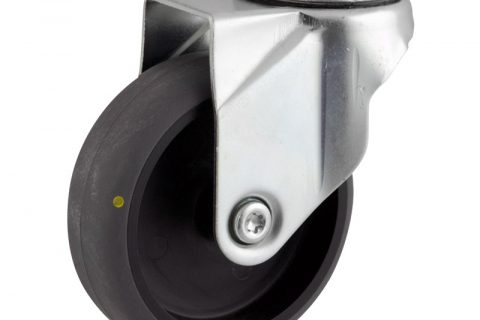 Zinc plated swivel caster 100mm for light trolleys,wheel made of electric conductive grey rubber,plain bearing.Hollow rivet