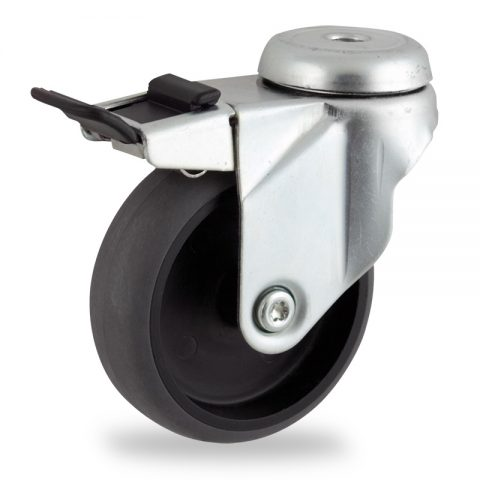 Zinc plated total lock caster 125mm for light trolleys,wheel made of electric conductive grey rubber,plain bearing.Hollow rivet