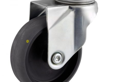 Zinc plated swivel caster 125mm for light trolleys,wheel made of electric conductive grey rubber,plain bearing.Top plate fitting