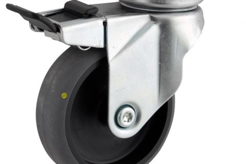 Zinc plated total lock caster 75mm for light trolleys,wheel made of electric conductive grey rubber,plain bearing.Top plate fitting