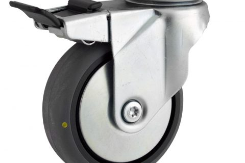 Zinc plated total lock caster 100mm for light trolleys,wheel made of electric conductive grey rubber,plain bearing.Top plate fitting