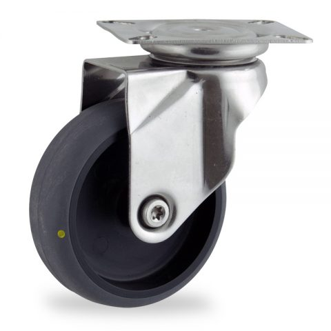 Stainless swivel caster 125mm for light trolleys,wheel made of electric conductive grey rubber,plain bearing.Top plate fitting