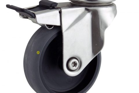 Stainless total lock caster 125mm for light trolleys,wheel made of electric conductive grey rubber,double ball bearings.Top plate fitting