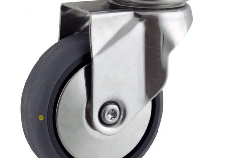 Stainless swivel caster 100mm for light trolleys,wheel made of electric conductive grey rubber,double ball bearings.Top plate fitting