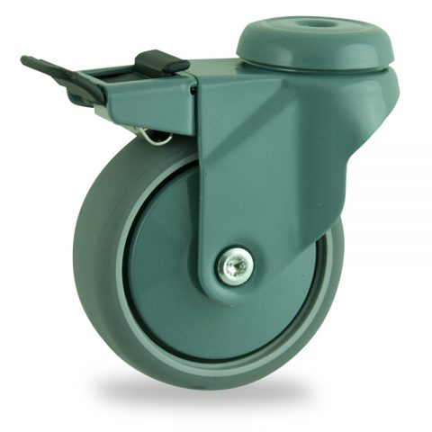 Coloured total lock caster 100mm for light trolleys,wheel made of grey rubber,plain bearing.Hollow rivet