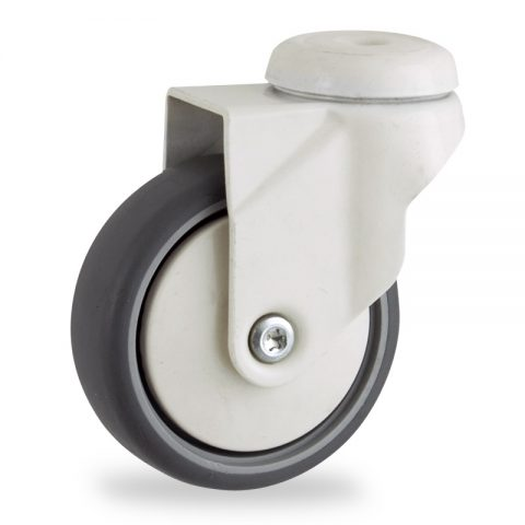 Coloured swivel caster 100mm for light trolleys,wheel made of grey rubber,plain bearing.Hollow rivet