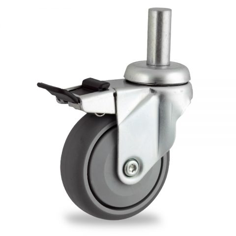 Zinc plated total lock caster 100mm for light trolleys,wheel made of grey rubber,single precision ball bearing.Fitting with round stem 20x45mm