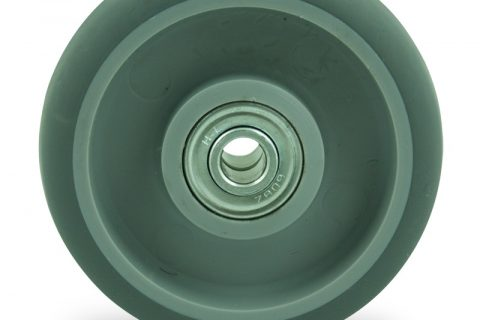 Wheel 100mm for light trolleys made from grey rubber,double ball bearings.
